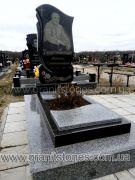 Памятник одинарный с волной и лентами