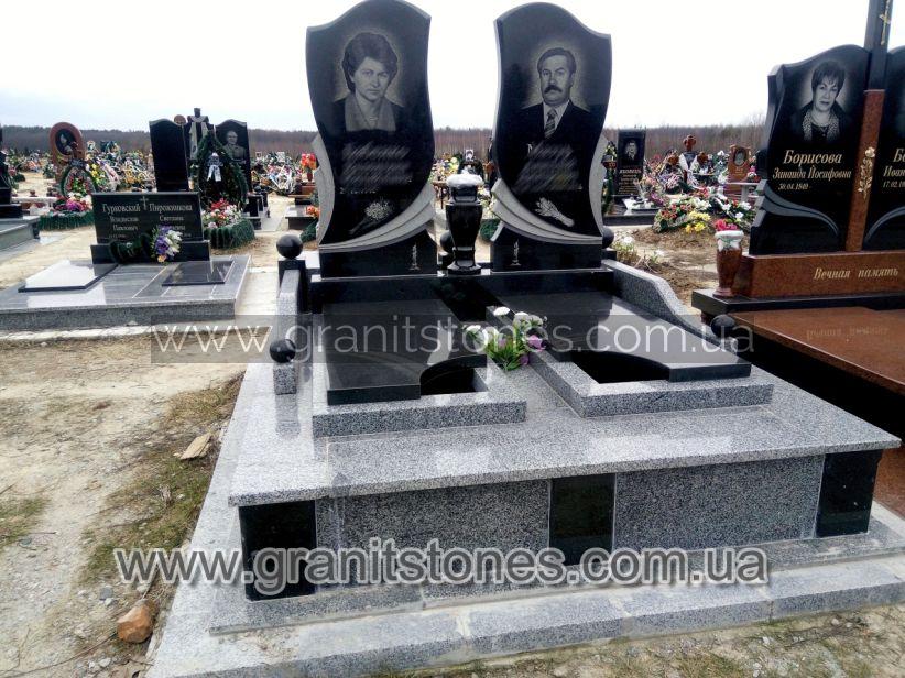 Памятник для двоих с волной комбинированный
