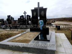 Памятник двойной с серым гранитным крестом