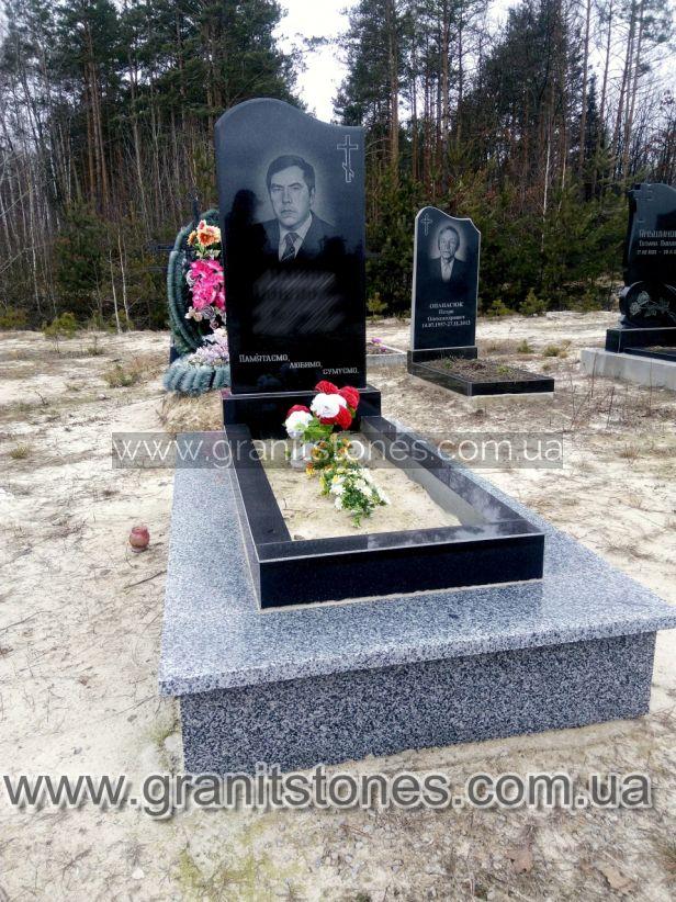 Памятник с волной и крестом на могилу гранит