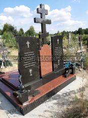 Двойной памятник из гранита с крестом