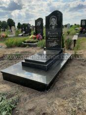 Гранитный памятник для одного с надгробной плитой
