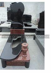 Одинарний памятник с вырезаной надгробной плитой