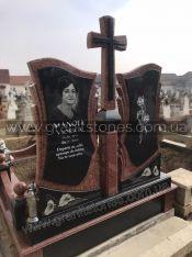 Двойной памятник с крестом красный