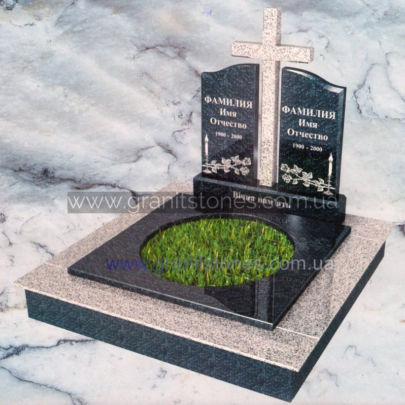 Двойной гранитный памятник с крестом и круглым цветником