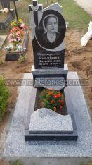 Одинарный памятник с цветником с волной