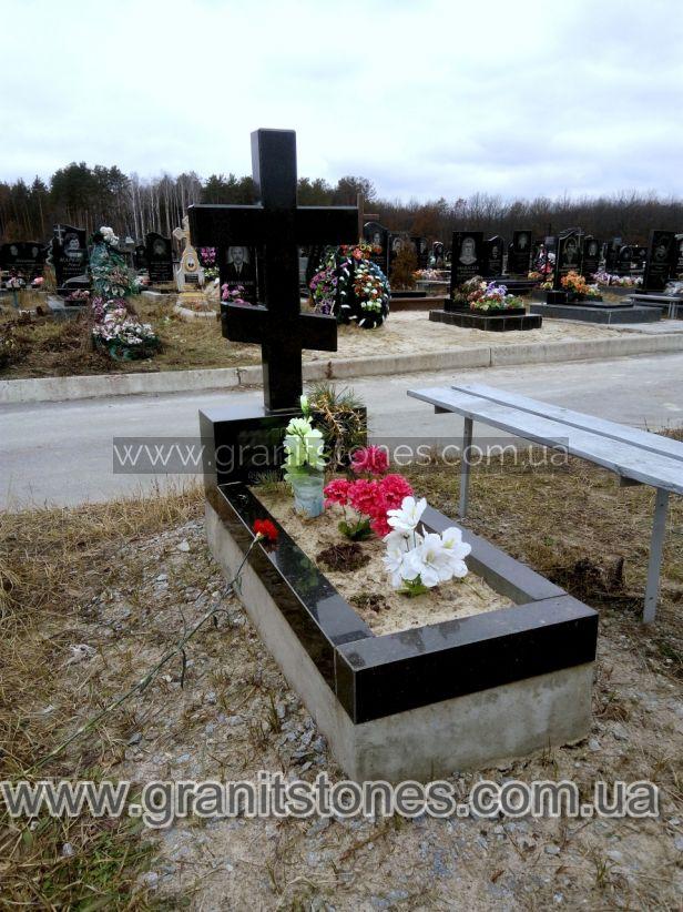 Крест на могилу гранит черный габбро