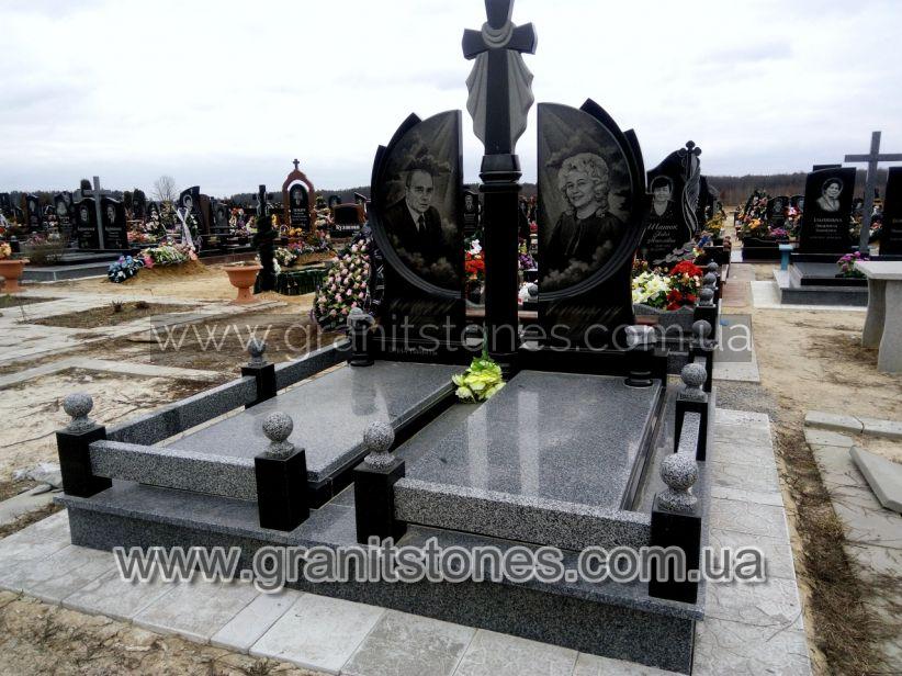 Гринтный памятник на могилу с крестом двойной