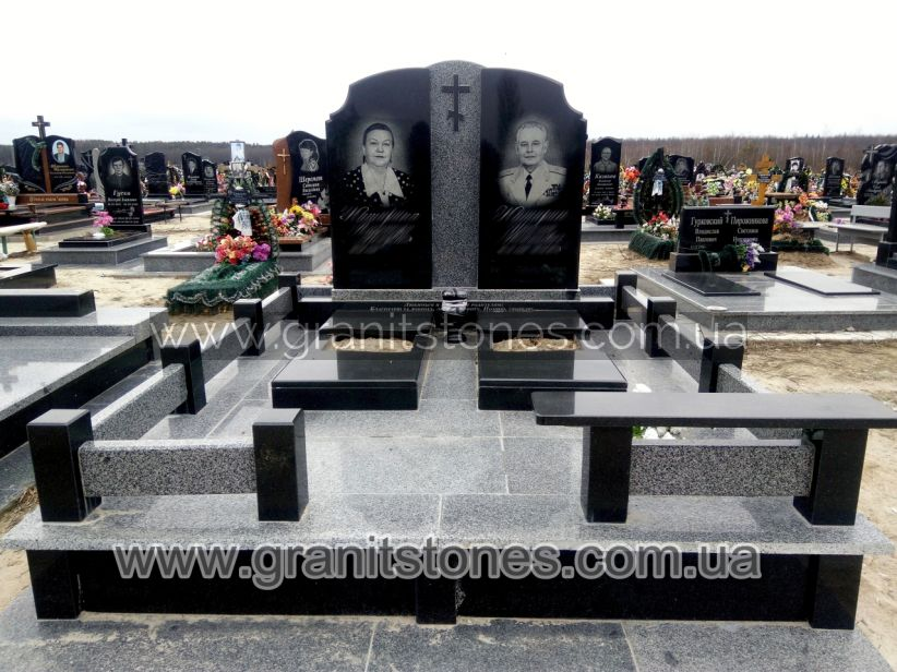 Комплекс памятник на могилу двойной комбинированный гранитный